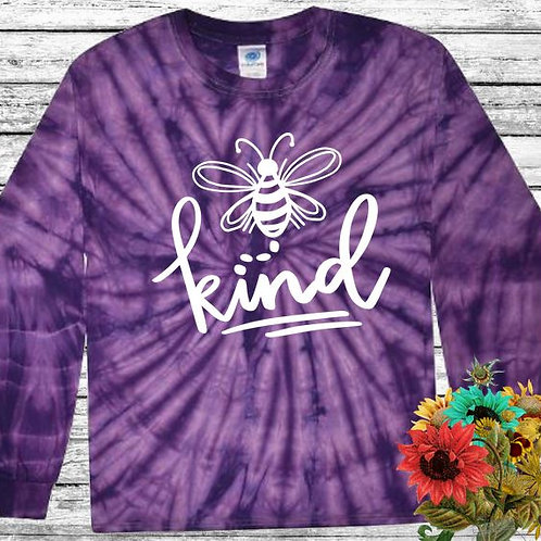 Graphic Tie Dye TEE Long Sleeve Be Kind Spider Purple