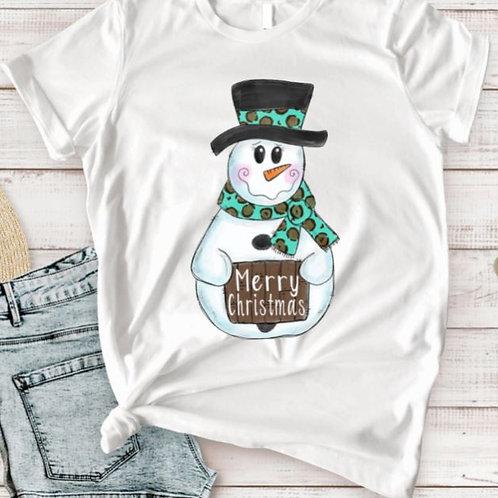SUBLIMATED TEE Short or Long Sleeve Snowman Merry Christmas Teal