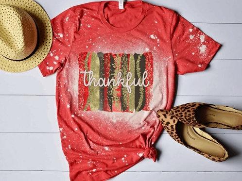 BLEACHED TEE Short or Long Sleeve Thankful Backsplash Red