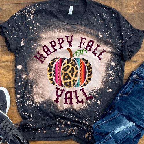 BLEACHED TEE Short or Long Sleeve Happy Fall Yall Leopard Serape Pumpki
