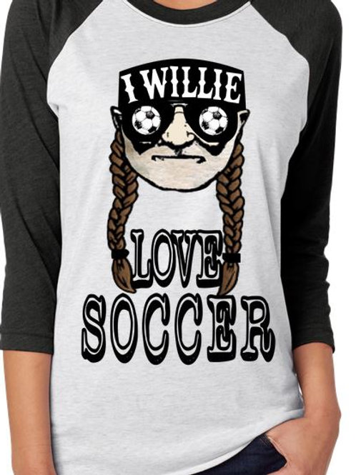 SUBLIMATED RAGLAN Soccer Willie Loves Soccer