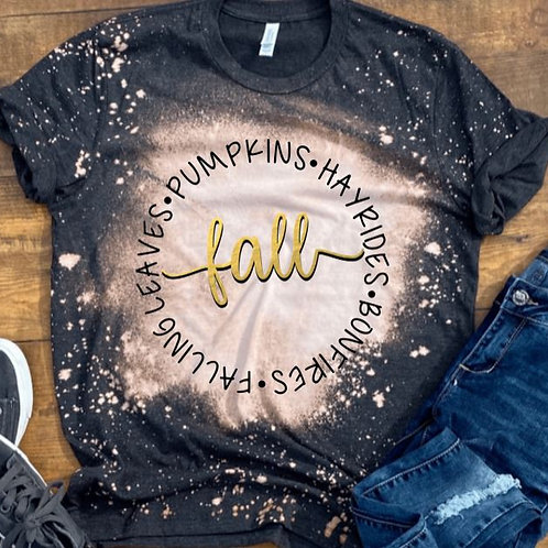 BLEACHED TEE Short or Long Sleeve Fall Circle Words