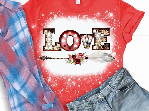BLEACHED TEE Short or Long Sleeve Valentine Love Marquee Arrow