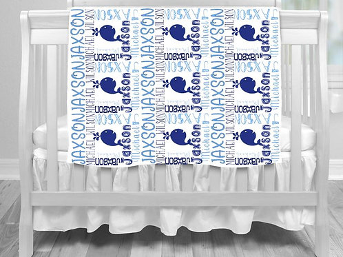 Personalized SUBLIMATED Baby Blanket Whale