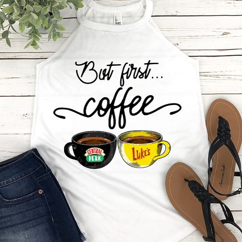 SUBLIMATED TEE Rocker Tank Top Central Perk and Luke's Coffee