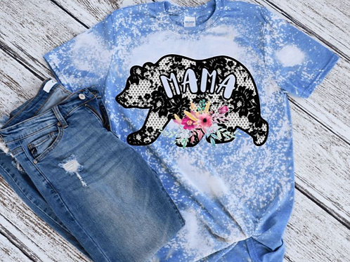 BLEACHED TEE Short or Long Sleeve Mama Bear Lace