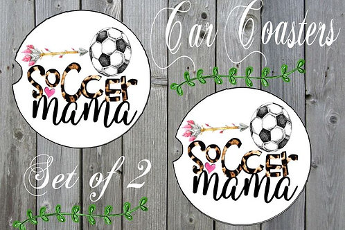 SUBLIMATED Car Coasters Set of 2 Rubber or Sandstone Soccer Mama Arrow Flowers