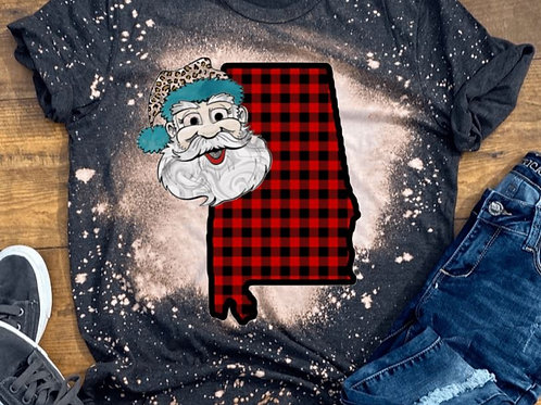 BLEACHED TEE Short or Long Sleeve Plaid Christmas Santa State OT ANY