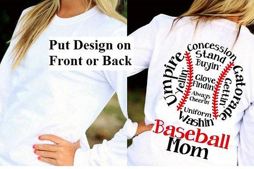 LONG SLEEVE BASEBALL DESIGN SHIRT Concession Stand Baseball Mom