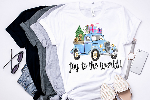SUBLIMATED TRANSFER ONLY Joy to the World Blue Truck