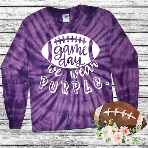 Graphic Tie Dye TEE Long Sleeve Game Day We Wear Purple
