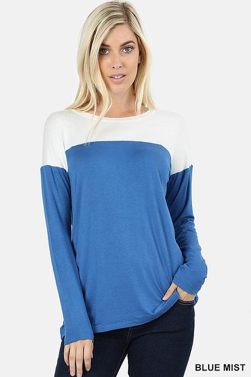 Long Sleeve Drop Shoulder Contrast Yoke Shirt Blue Mist/White