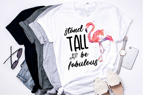 SUBLIMATED TEE Stand Tall Flamingo