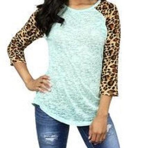 Burnout Baseball 3/4 Sleeve Raglan Shirt Leopard Mint