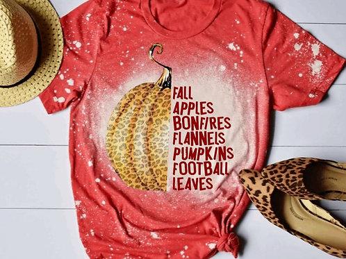 BLEACHED TEE Short or Long Sleeve Fall Bonfires Flannels Pumpkins Football