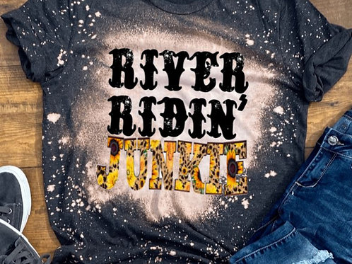 BLEACHED TEE Short Sleeve or Tank River Ridin Junkie