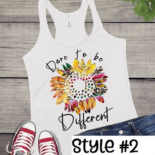 Tank Top SUBLIMATED GRAPHIC SHIRT Hippie Sunflower Dare to be Different Style #2