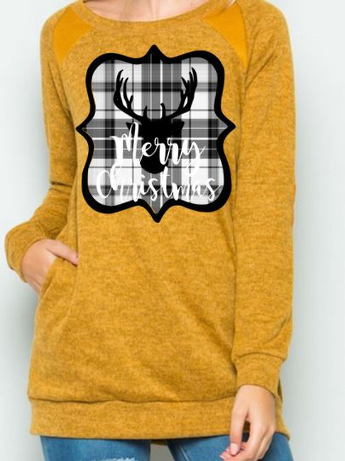 Brushed Knit Elbow Patched Long Sleeve Tunic Plaid Christmas Deer Mustard