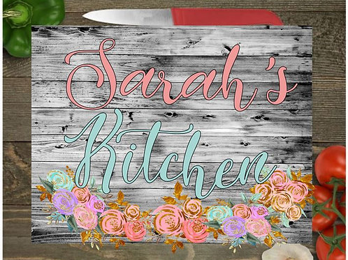 SUBLIMATED Glass Cutting Board Personalized SMALL or LARGE White Wood Flowers