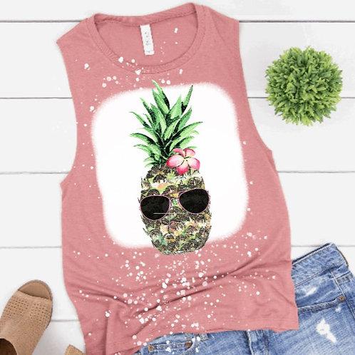 BLEACHED TANK TOP or TEE Pineapple Sunglasses