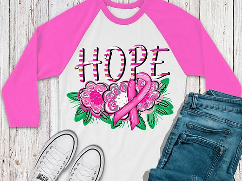 SUBLIMATED TEE RAGLAN Breast Cancer Awareness Hope