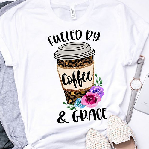 SUBLIMATED TEE Short or Long Sleeve Fueled by Coffee and Grace
