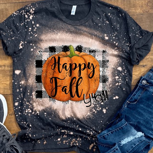 BLEACHED TEE Short or Long Sleeve Happy Fall Yall Black Plaid Pumpkin