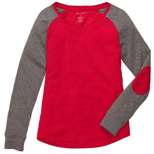 Preppy Patch Slub Tee Adult and Youth Sizes Red/Granite