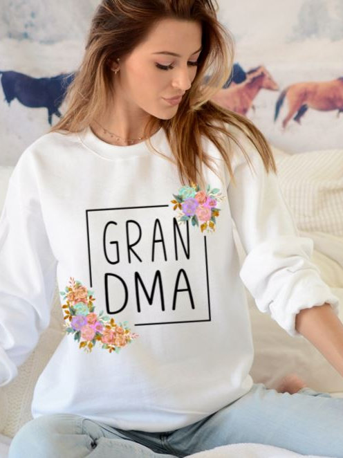 SUBLIMATED Sweatshirt Grandma Flower Square
