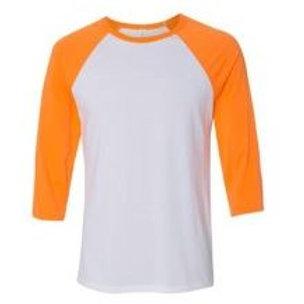 Bella & Canvas Unisex 3/4 Sleeve Raglan Tee Neon Orange/White
