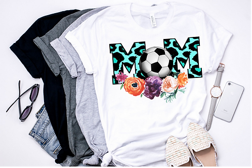SUBLIMATED TEE Mom Soccer Teal