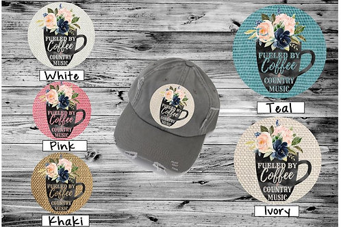 Sublimated Trucker Hats Many Colors Fueled by Coffee and Country Music