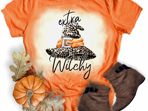 BLEACHED TEE Short or Long Sleeve Halloween Extra Witchy Leopard Hat