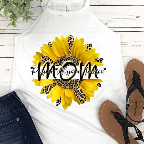 SUBLIMATED TEE Rocker Tank Top Mom Yellow Sunflower ANY NAME