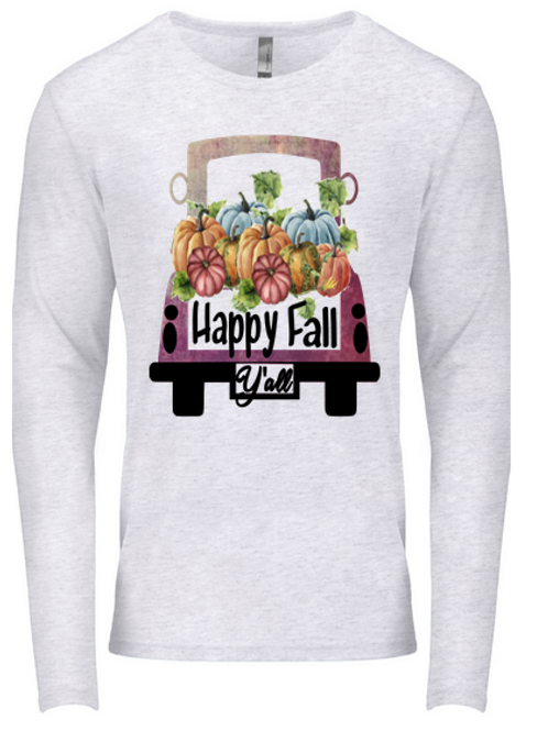 SUBLIMATED TEE Long Sleeve Happy Fall Yall Vintage Purple Truck