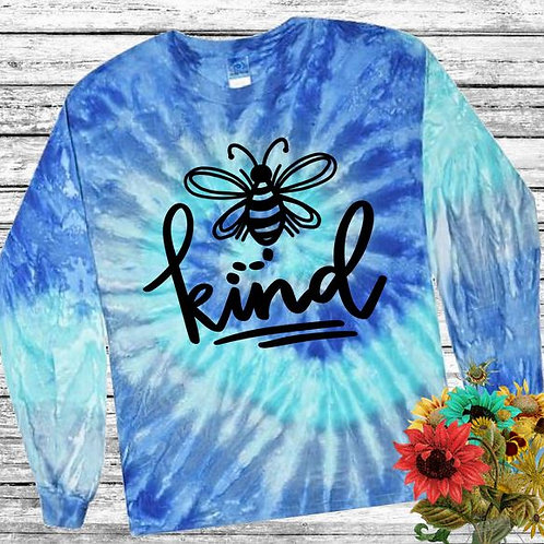 Graphic Tie Dye TEE Long Sleeve Be Kind Blue Jerry