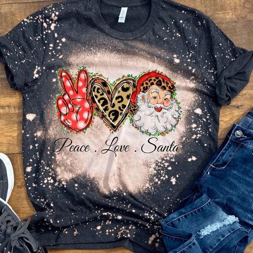 BLEACHED TEE Short or Long Sleeve Christmas Peace Love Santa
