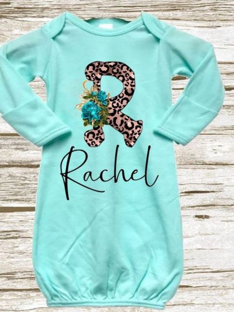 SUBLIMATED Baby Gown with Mittens Floral Initial with Name Rose Gold Leopard