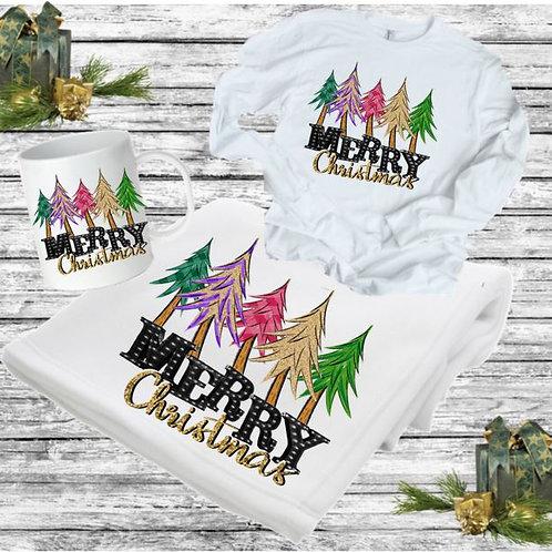 SUBLIMATED BLANKET SET - Blanket, Mug Long Sleeve Tee Merry Christmas Trees Marq