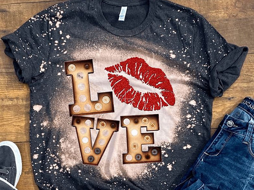 BLEACHED TEE Short or Long Sleeve Valentine Love Red Lips