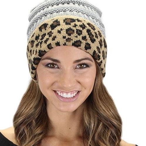 Leopard Beanie Grey