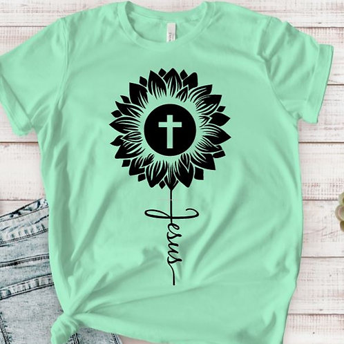 TEE Short Sleeve Easter Jesus Cross Sunflower MANY COLORS AVAILABLE