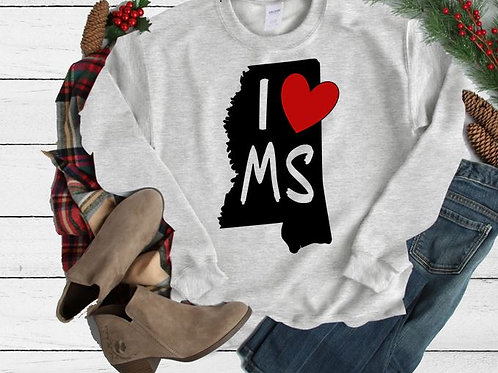 SUBLIMATED Sweatshirt State I Love ANY STATE