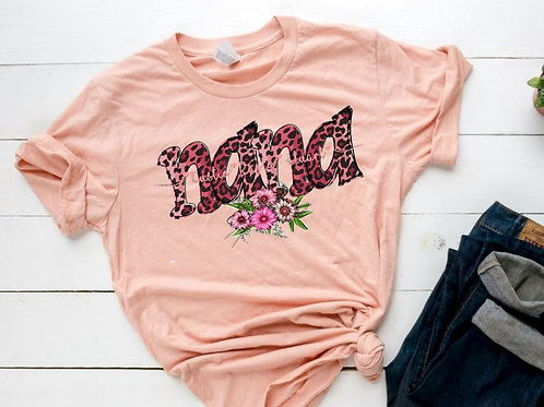 SUBLIMATED TEE Short or Long Sleeve Nana with Kids Names Pink Leopard
