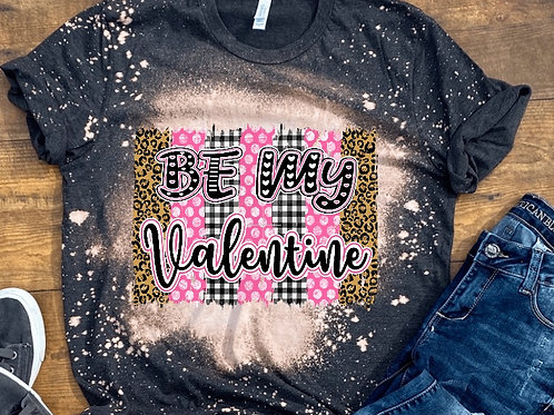 BLEACHED TEE Short or Long Sleeve Be My Valentine Plaid Backsplash