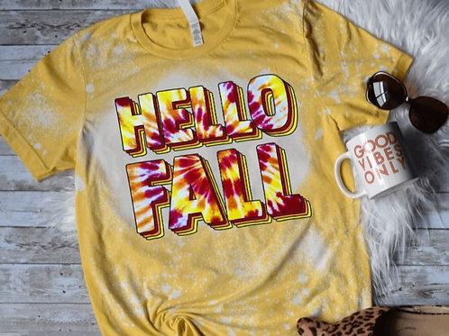 BLEACHED TEE Short or Long Sleeve Hello Fall Maroon Yellow Tie Dye