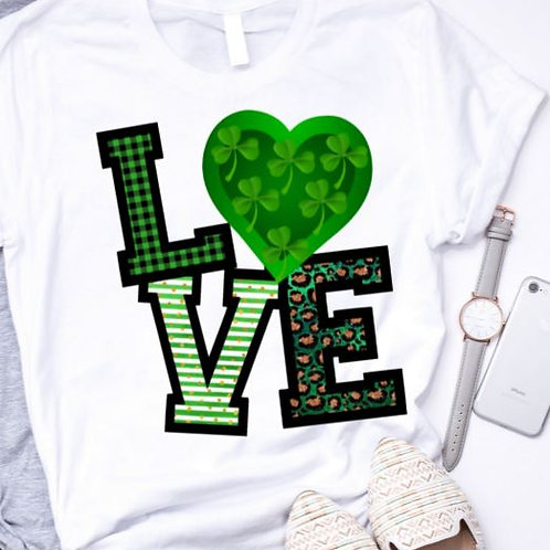 SUBLIMATED TRANSFER ONLY St. Pattys LOVE Heart