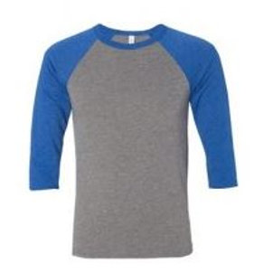 Bella & Canvas Unisex 3/4 Sleeve Raglan Tee Royal/Heather