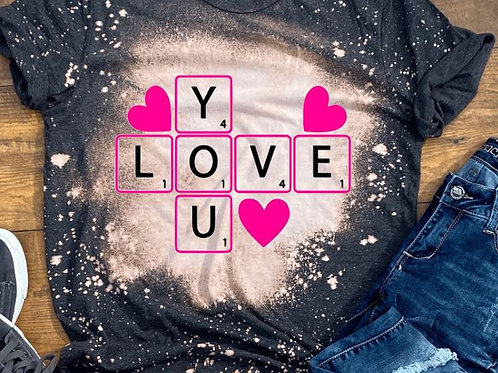 BLEACHED TEE Short or Long Sleeve Valentine Love You Crossword