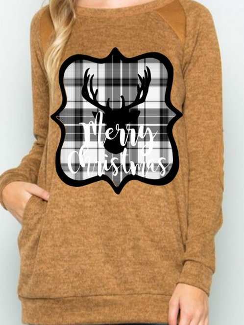 Brushed Knit Elbow Patched Long Sleeve Tunic Plaid Christmas Deer Mocha